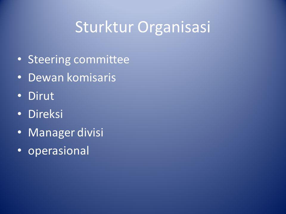 Sturktur Organisasi Steering committee Dewan komisaris Dirut Direksi Manager divisi operasional