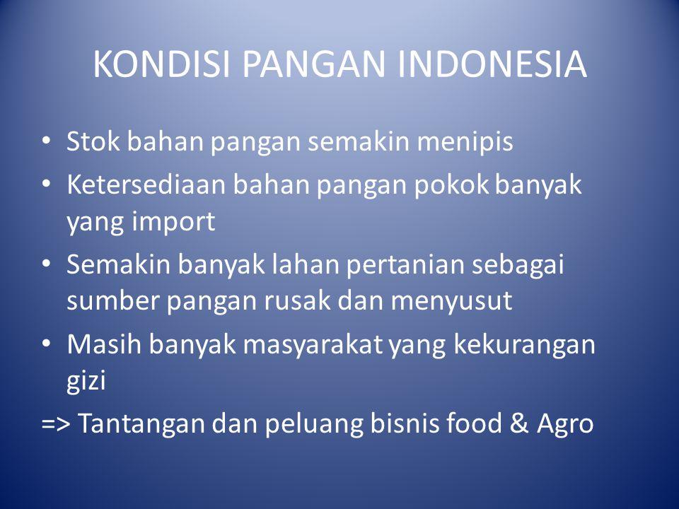 KONDISI PANGAN INDONESIA Stok bahan pangan semakin menipis Ketersediaan bahan pangan pokok banyak yang import Semakin banyak lahan pertanian sebagai sumber pangan rusak dan menyusut Masih banyak masyarakat yang kekurangan gizi => Tantangan dan peluang bisnis food & Agro