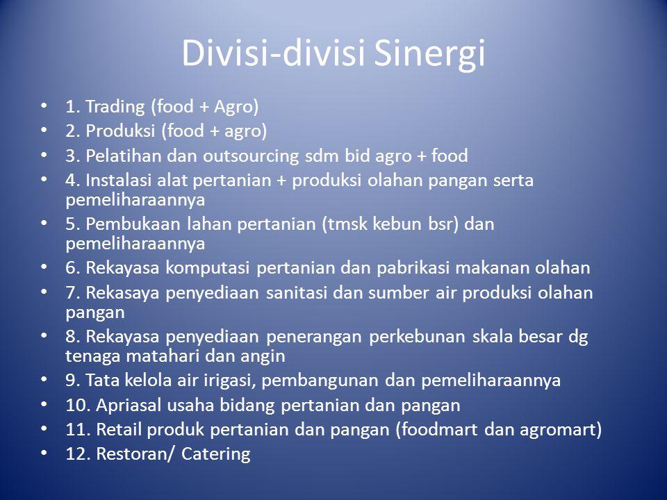 Divisi-divisi Sinergi 1. Trading (food + Agro) 2.