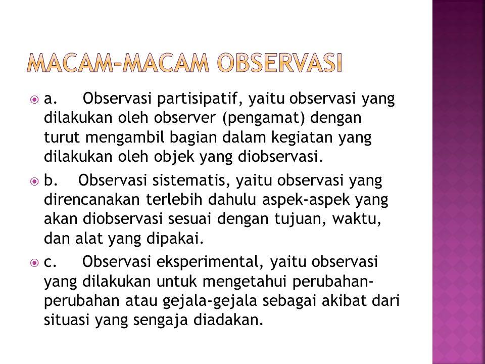  a. Observasi partisipatif, yaitu observasi yang dilakukan oleh observer (pengamat) dengan turut mengambil bagian dalam kegiatan yang dilakukan oleh
