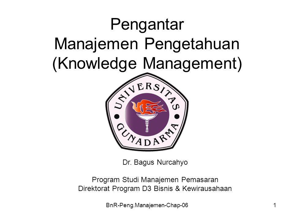 BnR-Peng.Manajemen-Chap-061 Pengantar Manajemen Pengetahuan (Knowledge Management) Dr. Bagus Nurcahyo Program Studi Manajemen Pemasaran Direktorat Pro