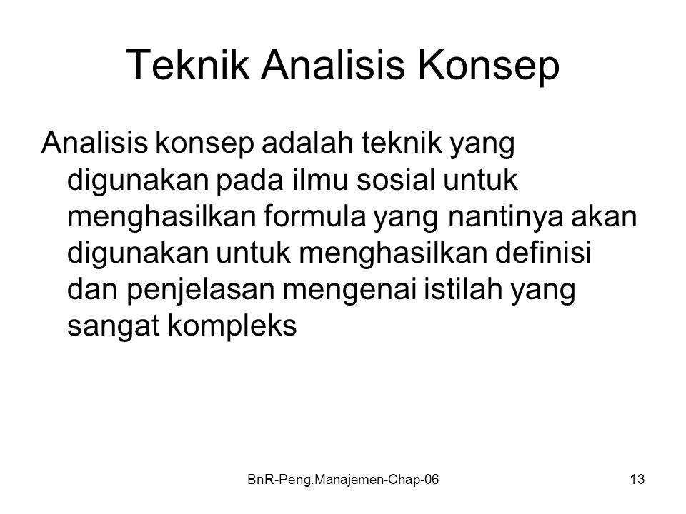 BnR-Peng.Manajemen-Chap-0613 Teknik Analisis Konsep Analisis konsep adalah teknik yang digunakan pada ilmu sosial untuk menghasilkan formula yang nantinya akan digunakan untuk menghasilkan definisi dan penjelasan mengenai istilah yang sangat kompleks