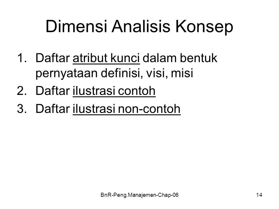 BnR-Peng.Manajemen-Chap-0614 Dimensi Analisis Konsep 1.Daftar atribut kunci dalam bentuk pernyataan definisi, visi, misi 2.Daftar ilustrasi contoh 3.Daftar ilustrasi non-contoh