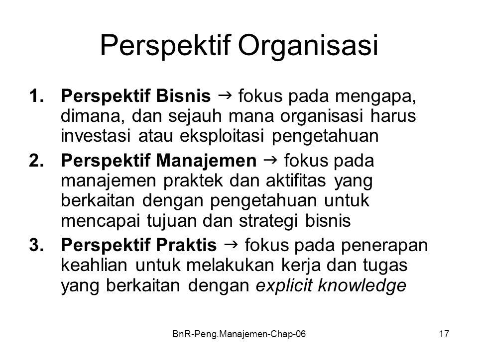 BnR-Peng.Manajemen-Chap-0617 Perspektif Organisasi 1.Perspektif Bisnis  fokus pada mengapa, dimana, dan sejauh mana organisasi harus investasi atau eksploitasi pengetahuan 2.Perspektif Manajemen  fokus pada manajemen praktek dan aktifitas yang berkaitan dengan pengetahuan untuk mencapai tujuan dan strategi bisnis 3.Perspektif Praktis  fokus pada penerapan keahlian untuk melakukan kerja dan tugas yang berkaitan dengan explicit knowledge
