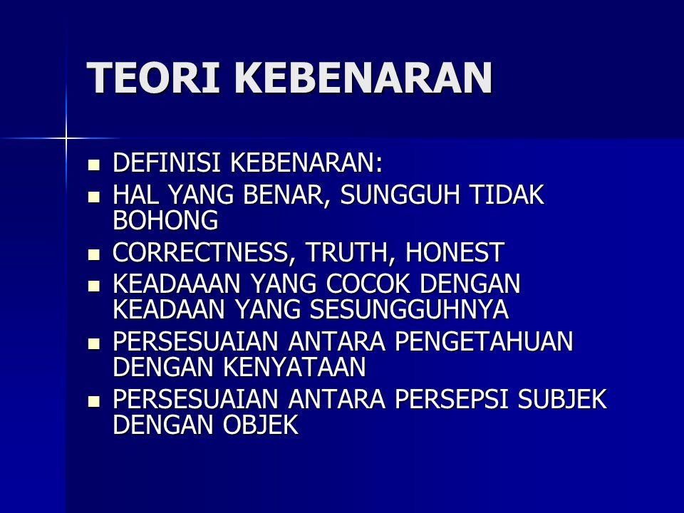 TEORI KEBENARAN DEFINISI KEBENARAN: DEFINISI KEBENARAN: HAL YANG BENAR, SUNGGUH TIDAK BOHONG HAL YANG BENAR, SUNGGUH TIDAK BOHONG CORRECTNESS, TRUTH,