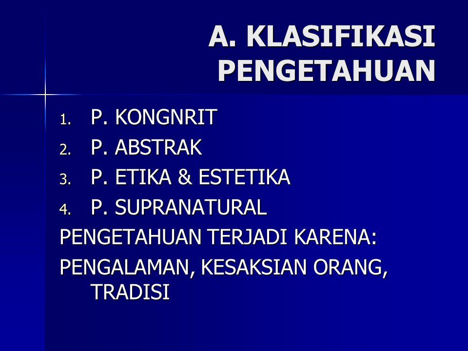 A. KLASIFIKASI PENGETAHUAN 1. P. KONGNRIT 2. P. ABSTRAK 3. P. ETIKA & ESTETIKA 4. P. SUPRANATURAL PENGETAHUAN TERJADI KARENA: PENGALAMAN, KESAKSIAN OR