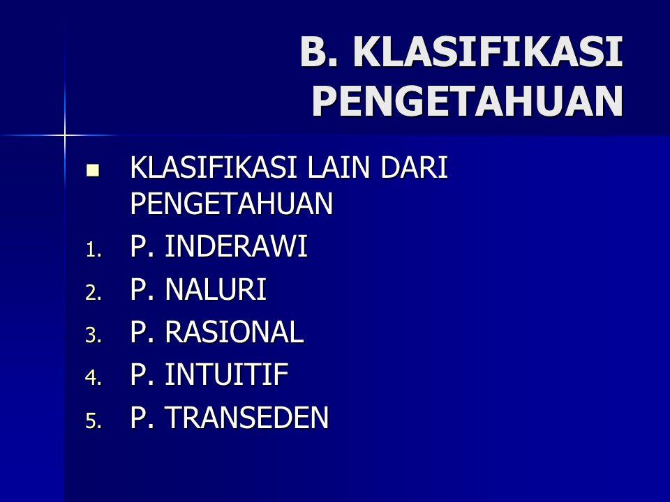 B. KLASIFIKASI PENGETAHUAN KLASIFIKASI LAIN DARI PENGETAHUAN KLASIFIKASI LAIN DARI PENGETAHUAN 1. P. INDERAWI 2. P. NALURI 3. P. RASIONAL 4. P. INTUIT