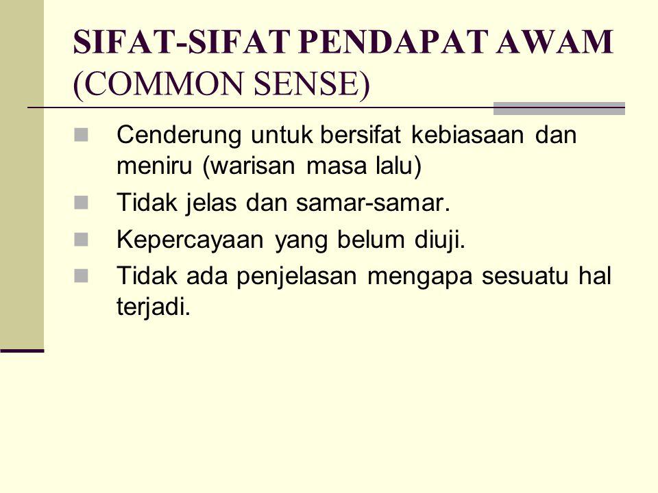 SIFAT-SIFAT PENDAPAT AWAM (COMMON SENSE) Cenderung untuk bersifat kebiasaan dan meniru (warisan masa lalu) Tidak jelas dan samar-samar. Kepercayaan ya