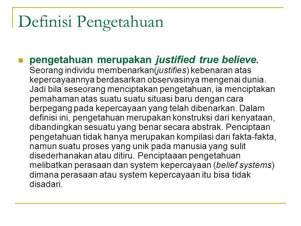 Definisi Pengetahuan pengetahuan merupakan justified true believe.