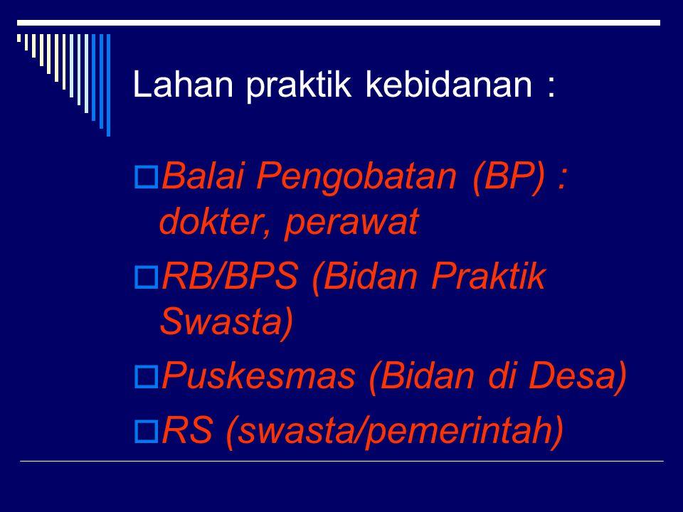 Lahan praktik kebidanan :  Balai Pengobatan (BP) : dokter, perawat  RB/BPS (Bidan Praktik Swasta)  Puskesmas (Bidan di Desa)  RS (swasta/pemerintah)