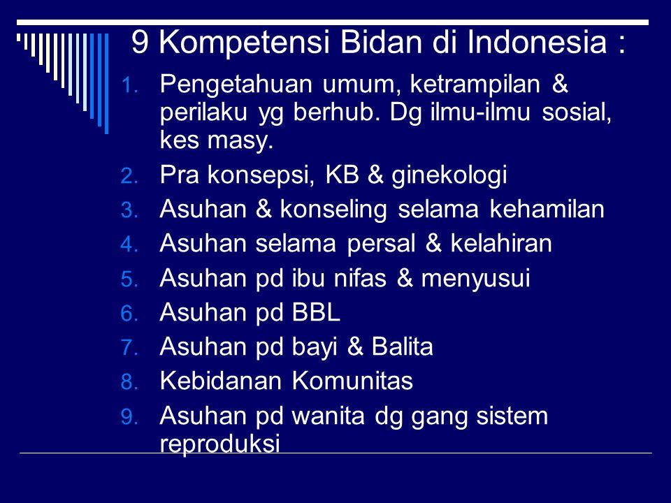 9 Kompetensi Bidan di Indonesia : 1.Pengetahuan umum, ketrampilan & perilaku yg berhub.