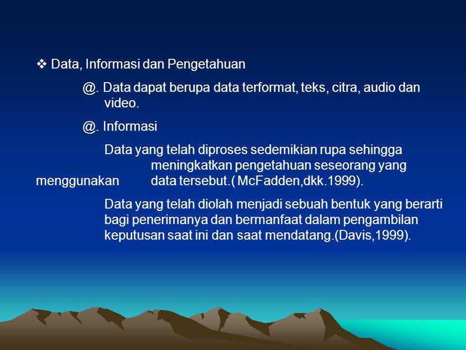  Data, Informasi dan Pengetahuan @. Data dapat berupa data terformat, teks, citra, audio dan video. @. Informasi Data yang telah diproses sedemikian