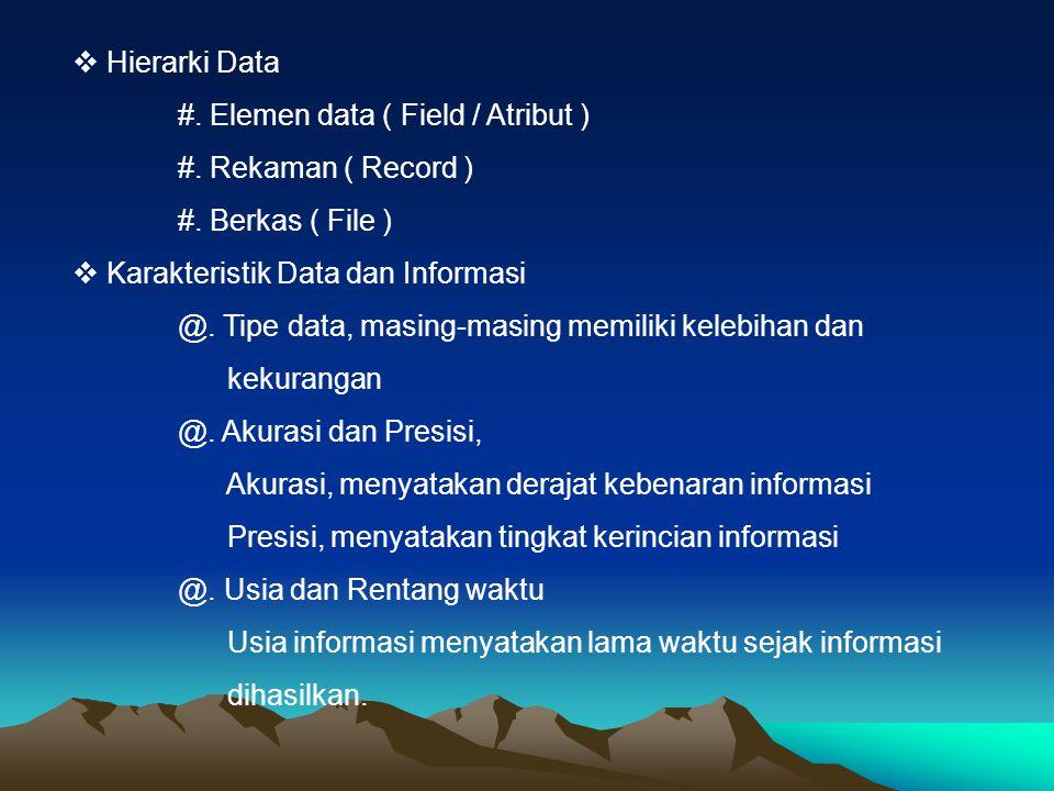  Hierarki Data #. Elemen data ( Field / Atribut ) #. Rekaman ( Record ) #. Berkas ( File )  Karakteristik Data dan Informasi @. Tipe data, masing-ma