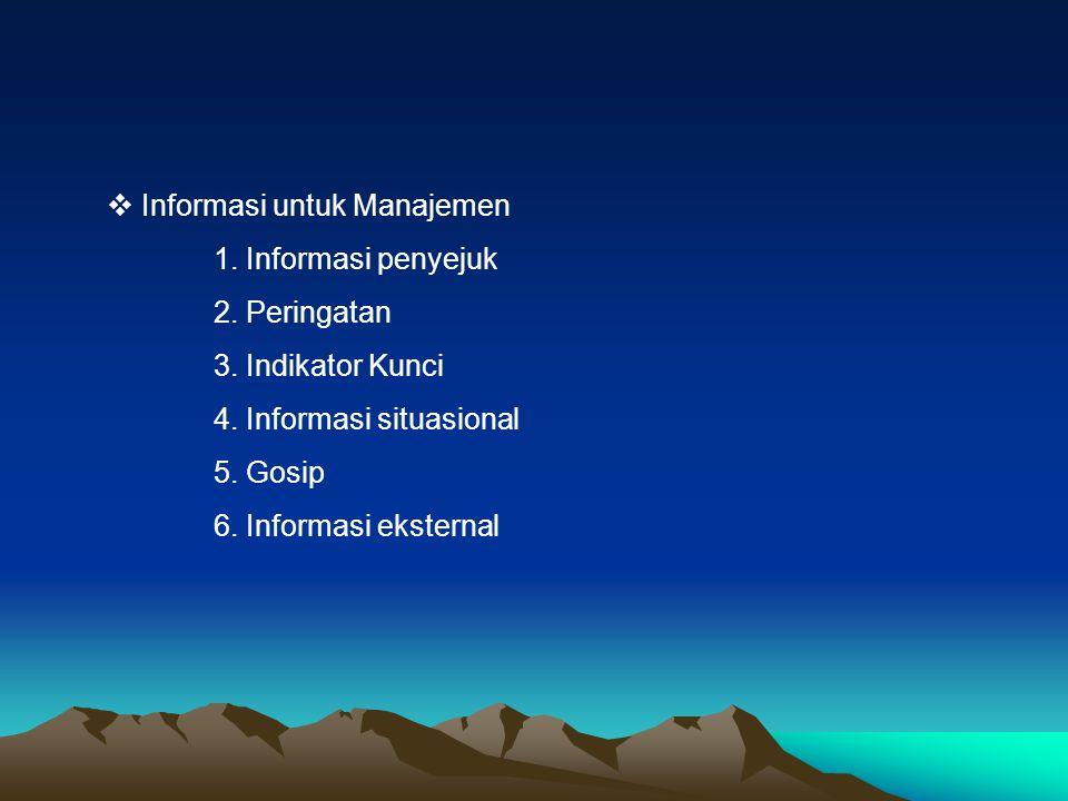  Informasi untuk Manajemen 1. Informasi penyejuk 2. Peringatan 3. Indikator Kunci 4. Informasi situasional 5. Gosip 6. Informasi eksternal