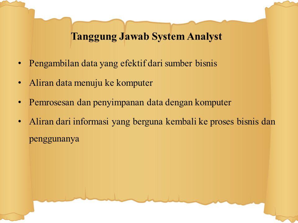 Tanggung Jawab System Analyst Pengambilan data yang efektif dari sumber bisnis Aliran data menuju ke komputer Pemrosesan dan penyimpanan data dengan komputer Aliran dari informasi yang berguna kembali ke proses bisnis dan penggunanya