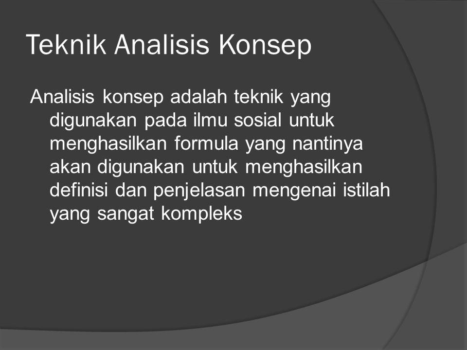Teknik Analisis Konsep Analisis konsep adalah teknik yang digunakan pada ilmu sosial untuk menghasilkan formula yang nantinya akan digunakan untuk men