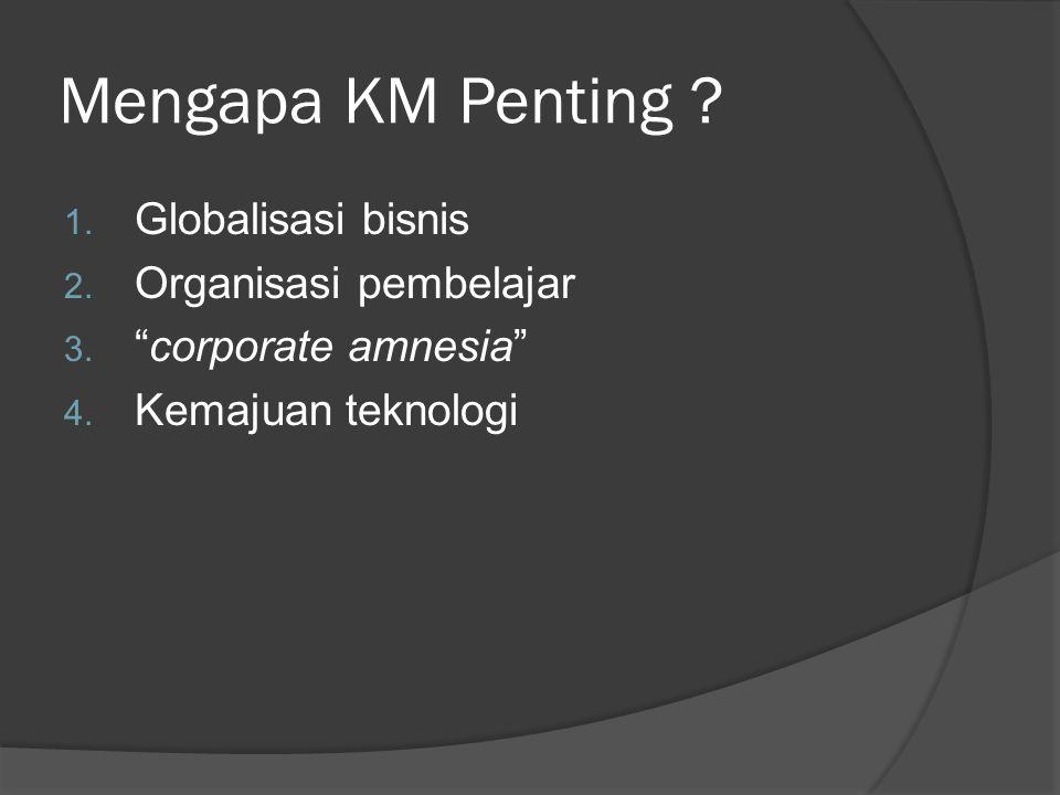 """Mengapa KM Penting ? 1. Globalisasi bisnis 2. Organisasi pembelajar 3. """"corporate amnesia"""" 4. Kemajuan teknologi"""
