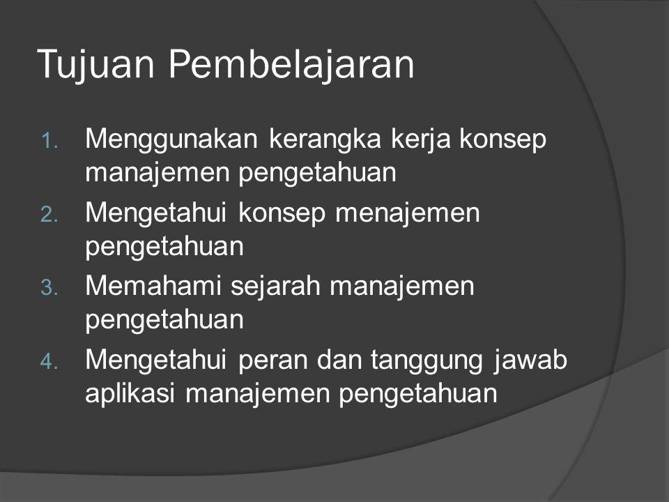 Tujuan Pembelajaran 1. Menggunakan kerangka kerja konsep manajemen pengetahuan 2. Mengetahui konsep menajemen pengetahuan 3. Memahami sejarah manajeme