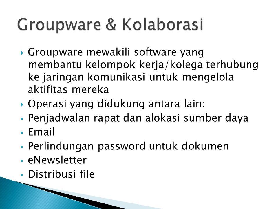  Groupware mewakili software yang membantu kelompok kerja/kolega terhubung ke jaringan komunikasi untuk mengelola aktifitas mereka  Operasi yang didukung antara lain:  Penjadwalan rapat dan alokasi sumber daya  Email  Perlindungan password untuk dokumen  eNewsletter  Distribusi file