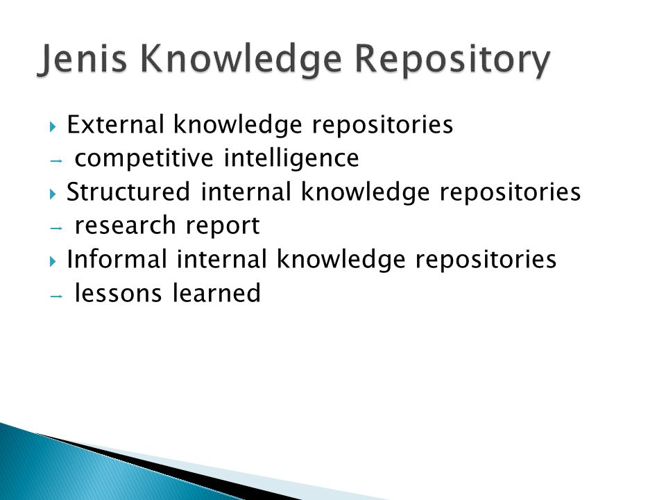  External knowledge repositories → competitive intelligence  Structured internal knowledge repositories → research report  Informal internal knowle