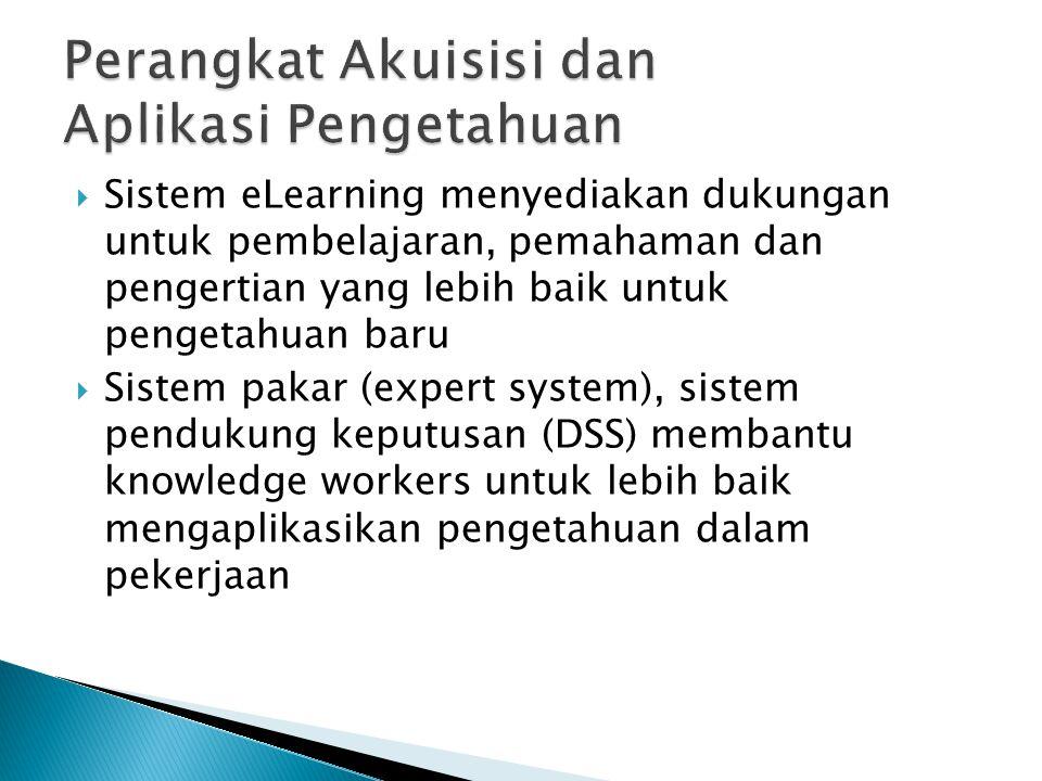  Sistem eLearning menyediakan dukungan untuk pembelajaran, pemahaman dan pengertian yang lebih baik untuk pengetahuan baru  Sistem pakar (expert system), sistem pendukung keputusan (DSS) membantu knowledge workers untuk lebih baik mengaplikasikan pengetahuan dalam pekerjaan
