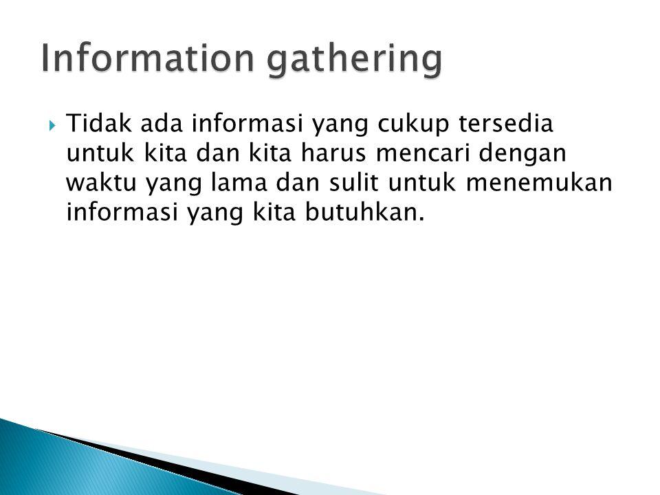  Tidak ada informasi yang cukup tersedia untuk kita dan kita harus mencari dengan waktu yang lama dan sulit untuk menemukan informasi yang kita butuhkan.