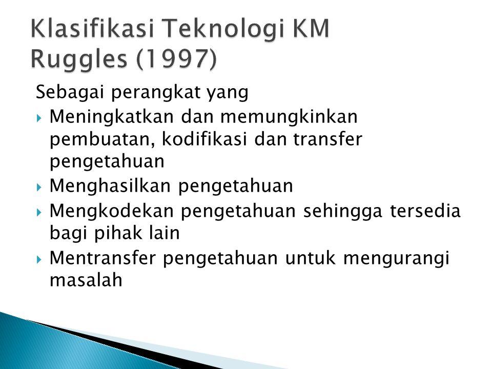Sebagai perangkat yang  Meningkatkan dan memungkinkan pembuatan, kodifikasi dan transfer pengetahuan  Menghasilkan pengetahuan  Mengkodekan pengetahuan sehingga tersedia bagi pihak lain  Mentransfer pengetahuan untuk mengurangi masalah