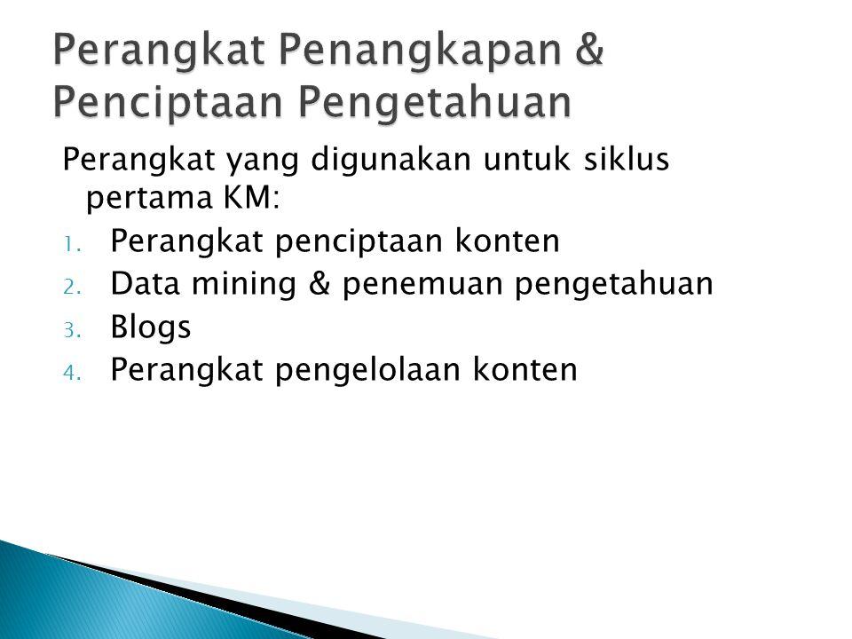 Perangkat yang digunakan untuk siklus pertama KM: 1. Perangkat penciptaan konten 2. Data mining & penemuan pengetahuan 3. Blogs 4. Perangkat pengelola