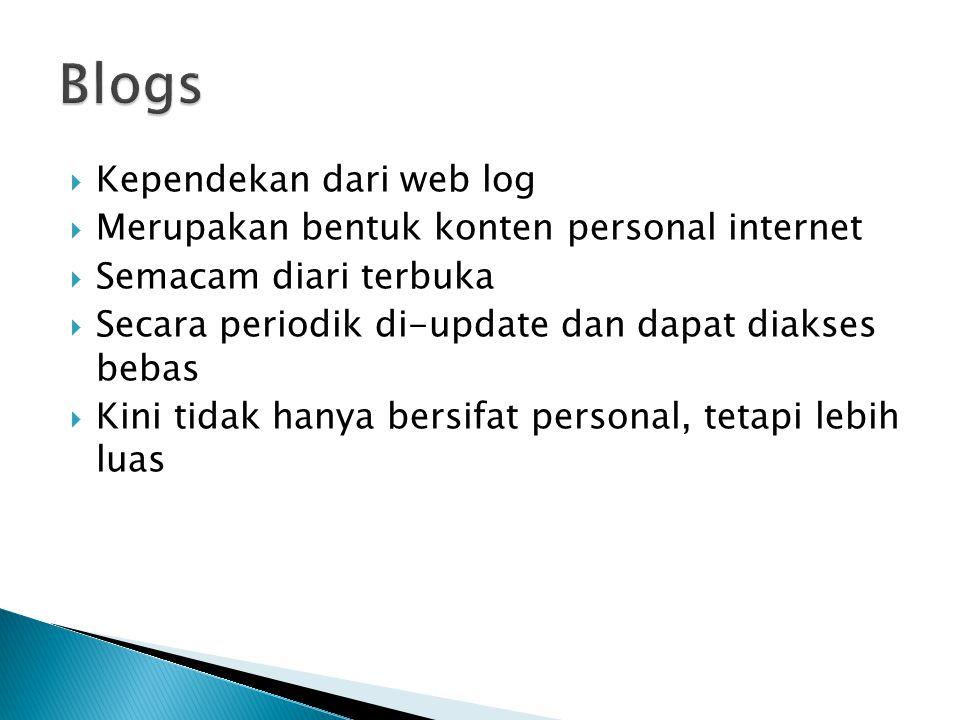 Kependekan dari web log  Merupakan bentuk konten personal internet  Semacam diari terbuka  Secara periodik di-update dan dapat diakses bebas  Kini tidak hanya bersifat personal, tetapi lebih luas