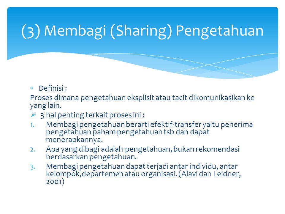  Definisi : Proses dimana pengetahuan eksplisit atau tacit dikomunikasikan ke yang lain.