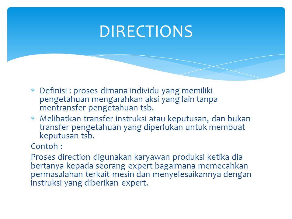  Definisi : proses dimana individu yang memiliki pengetahuan mengarahkan aksi yang lain tanpa mentransfer pengetahuan tsb.