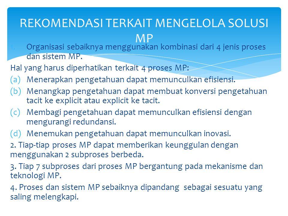1.Organisasi sebaiknya menggunakan kombinasi dari 4 jenis proses dan sistem MP.