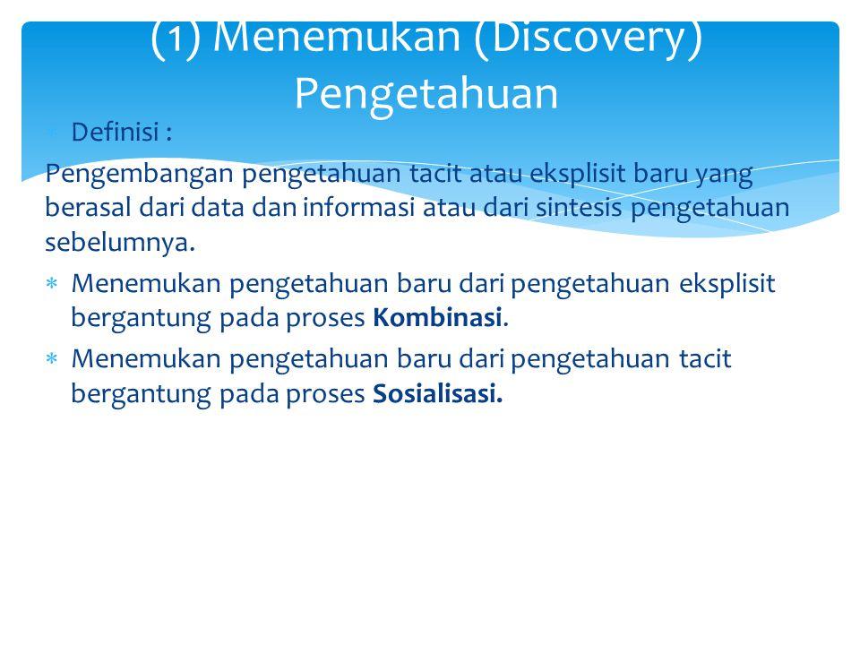  Definisi : Pengembangan pengetahuan tacit atau eksplisit baru yang berasal dari data dan informasi atau dari sintesis pengetahuan sebelumnya.