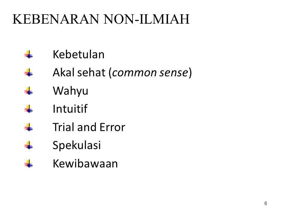 6 KEBENARAN NON-ILMIAH Kebetulan Akal sehat (common sense) Wahyu Intuitif Trial and Error Spekulasi Kewibawaan