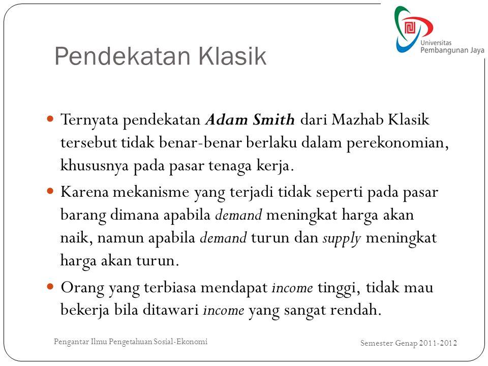 Pendekatan Klasik Semester Genap 2011-2012 Pengantar Ilmu Pengetahuan Sosial-Ekonomi Ternyata pendekatan Adam Smith dari Mazhab Klasik tersebut tidak
