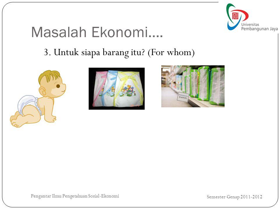 Masalah Ekonomi…. Semester Genap 2011-2012 Pengantar Ilmu Pengetahuan Sosial-Ekonomi 3. Untuk siapa barang itu? (For whom)