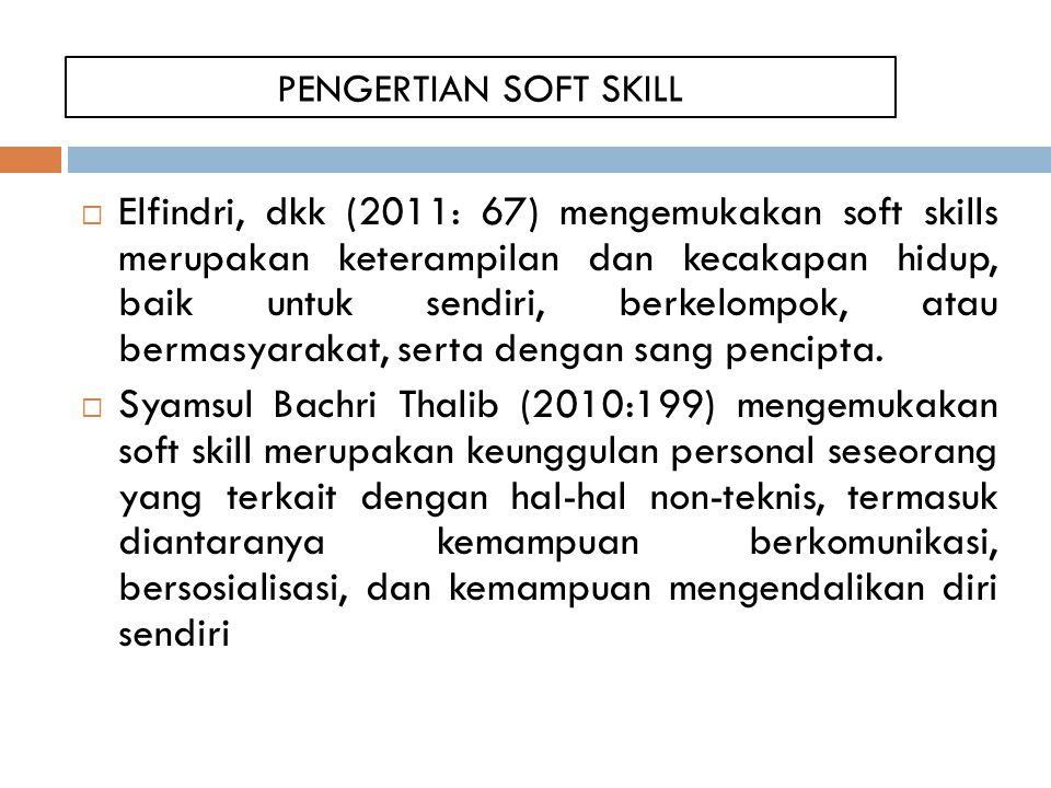 PENGERTIAN SOFT SKILL  Elfindri, dkk (2011: 67) mengemukakan soft skills merupakan keterampilan dan kecakapan hidup, baik untuk sendiri, berkelompok, atau bermasyarakat, serta dengan sang pencipta.