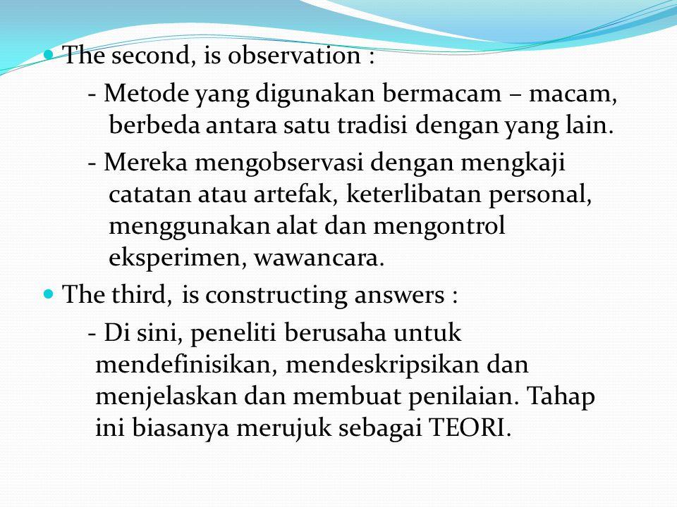 The second, is observation : - Metode yang digunakan bermacam – macam, berbeda antara satu tradisi dengan yang lain.