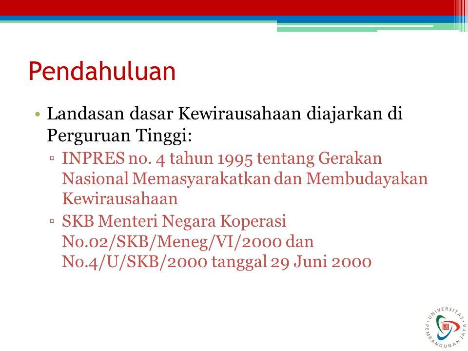 Pendahuluan Landasan dasar Kewirausahaan diajarkan di Perguruan Tinggi: ▫INPRES no. 4 tahun 1995 tentang Gerakan Nasional Memasyarakatkan dan Membuday