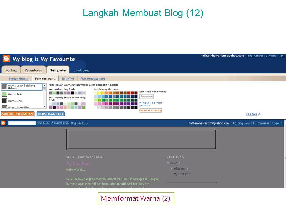 Langkah Membuat Blog (12) Memformat Warna (2)