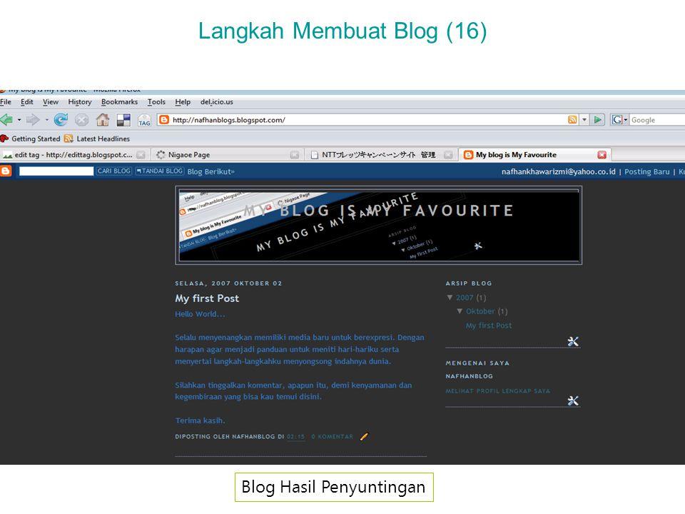 Langkah Membuat Blog (16) Blog Hasil Penyuntingan