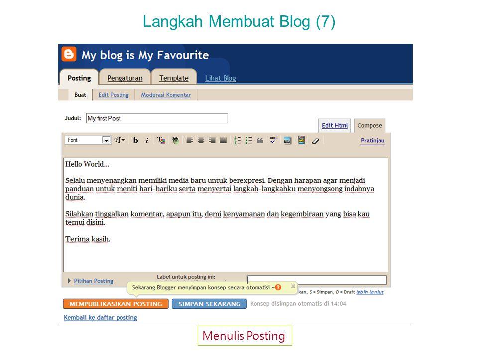 Langkah Membuat Blog (8) Konfirmasi Posting Berhasil