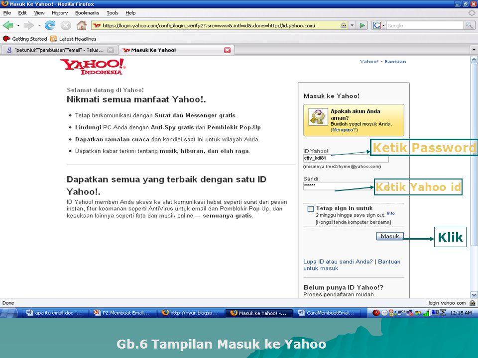 Ketik Yahoo id Ketik Password Klik Gb.6 Tampilan Masuk ke Yahoo