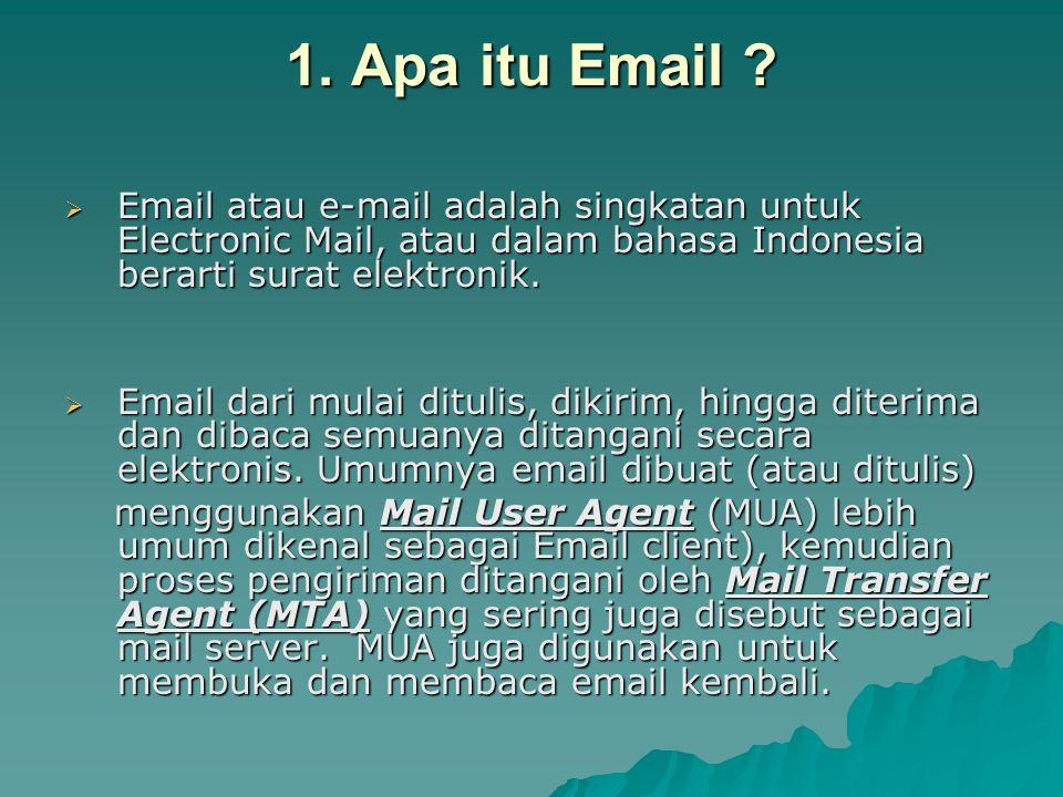 1. Apa itu Email ?  Email atau e-mail adalah singkatan untuk Electronic Mail, atau dalam bahasa Indonesia berarti surat elektronik.  Email dari mula