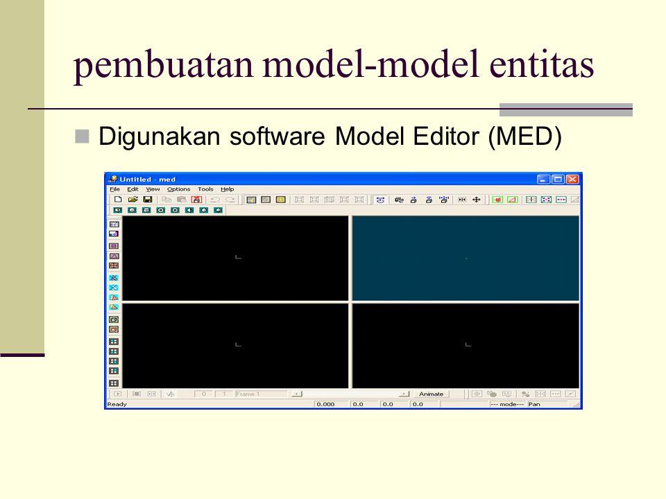 pembuatan model-model entitas Digunakan software Model Editor (MED)