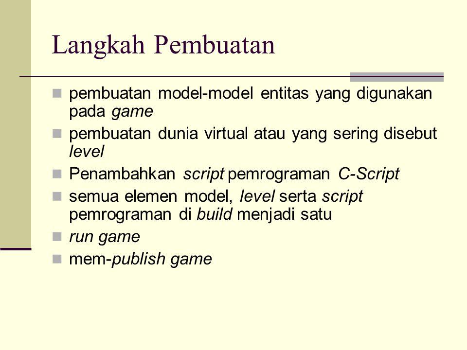 Langkah Pembuatan pembuatan model-model entitas yang digunakan pada game pembuatan dunia virtual atau yang sering disebut level Penambahkan script pemrograman C-Script semua elemen model, level serta script pemrograman di build menjadi satu run game mem-publish game