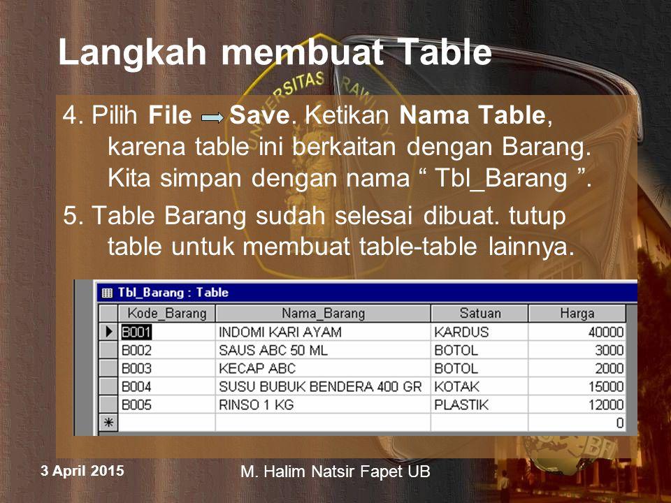 3 April 2015 M. Halim Natsir Fapet UB Langkah membuat Table 4. Pilih File Save. Ketikan Nama Table, karena table ini berkaitan dengan Barang. Kita sim