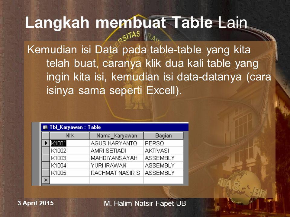 3 April 2015 M. Halim Natsir Fapet UB Langkah membuat Table Lain Kemudian isi Data pada table-table yang kita telah buat, caranya klik dua kali table
