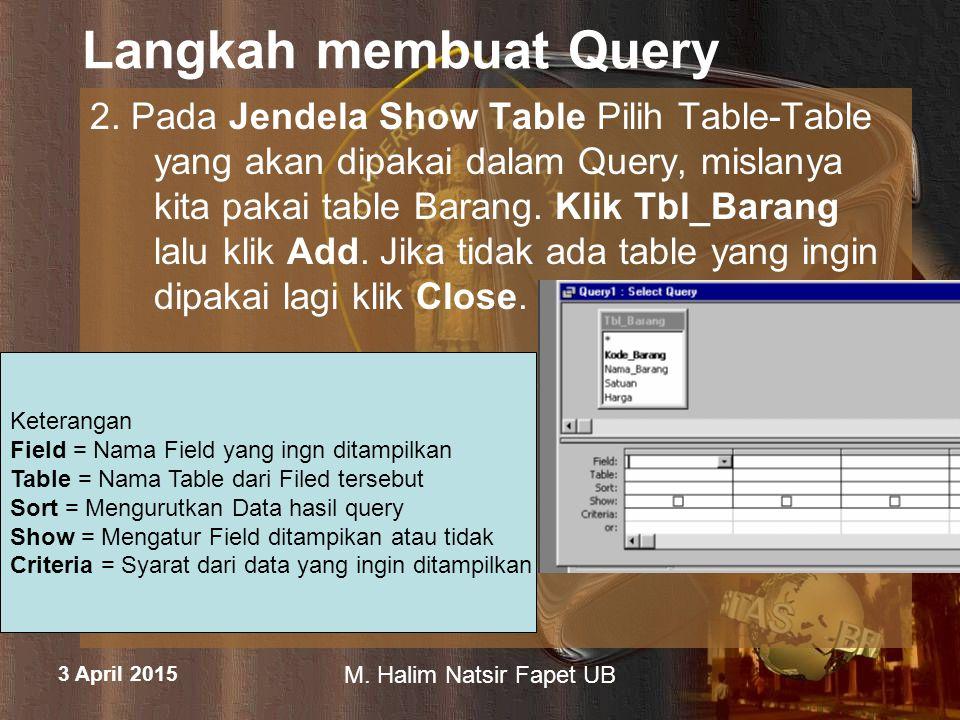 3 April 2015 M. Halim Natsir Fapet UB Langkah membuat Query 2. Pada Jendela Show Table Pilih Table-Table yang akan dipakai dalam Query, mislanya kita