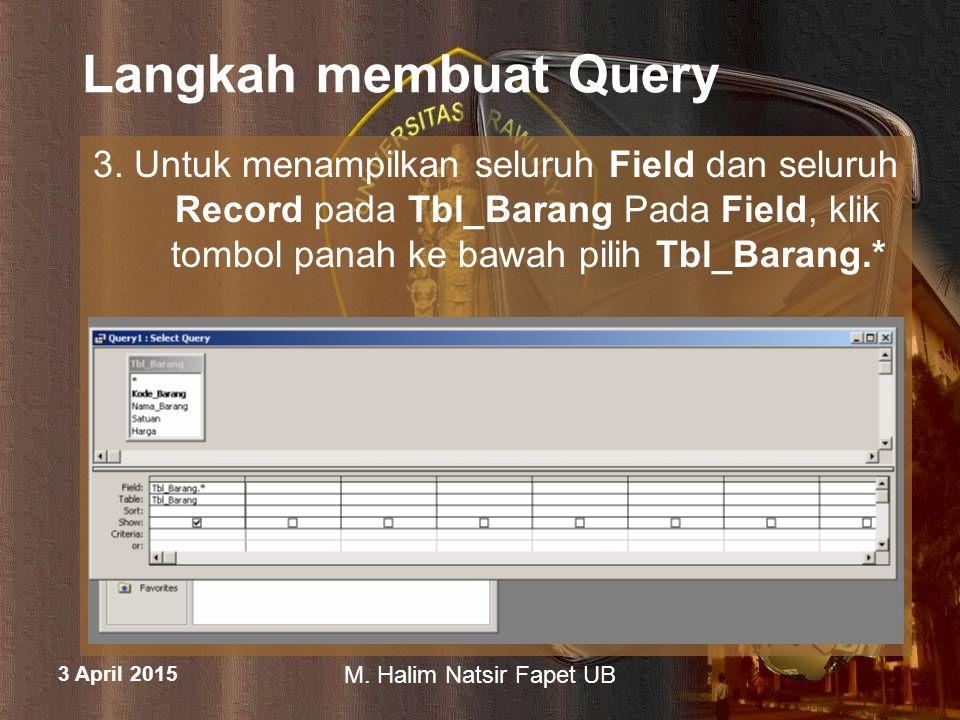 3 April 2015 M. Halim Natsir Fapet UB Langkah membuat Query 3. Untuk menampilkan seluruh Field dan seluruh Record pada Tbl_Barang Pada Field, klik tom